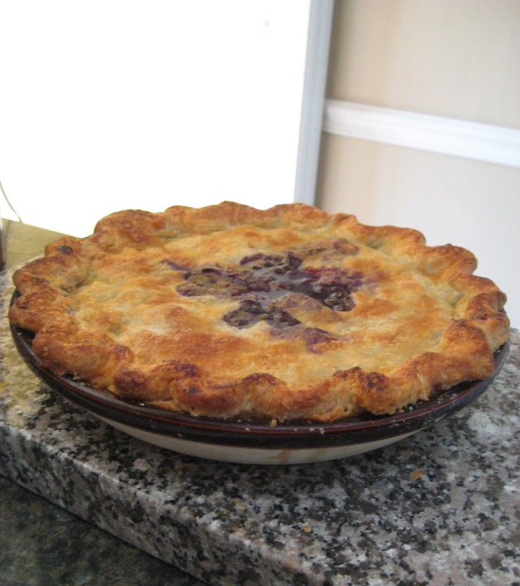 Testing out the oven with a blueberry pie -the juiciness would have gotten me kicked off Master Chef, but we thought it was delicious