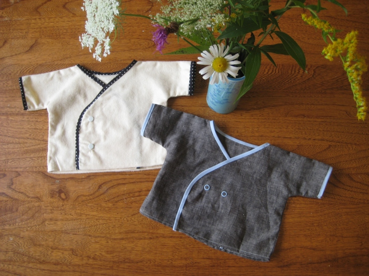 and two little baby kimono shirts- one flannel, one linen.